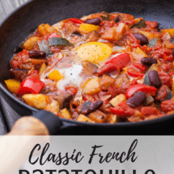 A skillet of food with Ratatouille and Eggplant