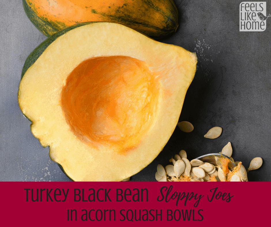 turkey black bean sloppy joes in acorn squash bowls - These quick and easy healthy recipe uses ground turkey to make traditional sloppy joes. Great recipe for two with leftovers and kids like it, too. Great gluten-free, low carb recipe. This is the best weeknight dinner recipe because it's so simple and delicious.