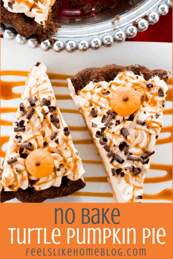 two slices of no bake turtle pumpkin pie