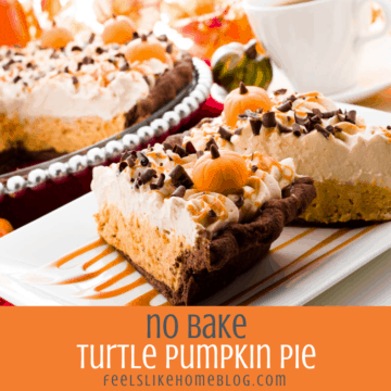 two slices of no bake pumpkin pie