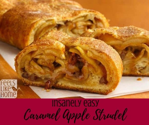 How to make the best simple and easy caramel apple strudel - Because this recipe uses crescent rolls for dough, it comes together in just a few minutes and tastes amazing. The filling is sweet but not too sweet because it uses a Granny Smith apple.