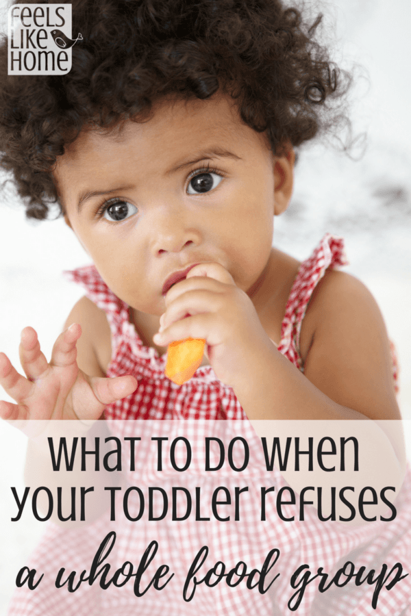 Toddlers can be picky eaters. What to do when your young child refuses to eat a whole food group. Mom can get them to eat using some substitutions. You don't want to fight with your kids over eating. Tips, advice, and ideas for feeding toddlers and families.