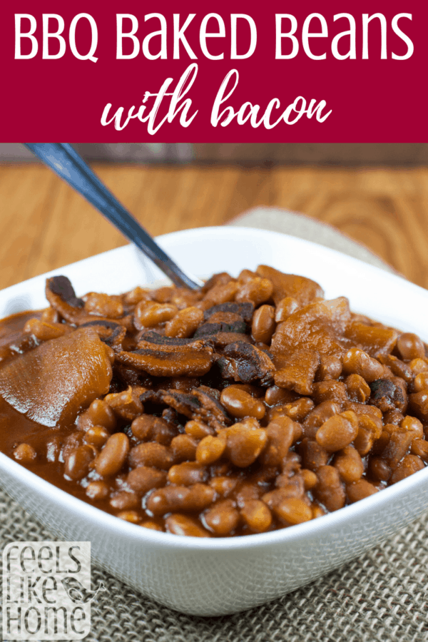 BBQ baked beans recipe with bacon - These super easy and simple beans are perfect for potlucks or parties, but families love them too. Mix with couscous or rice or just serve plain as a side dish. So amazing! Includes slow cooker/Crock Pot instructions and stovetop instructions.