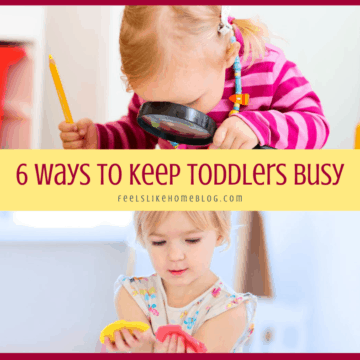 a collage of busy toddlers playing