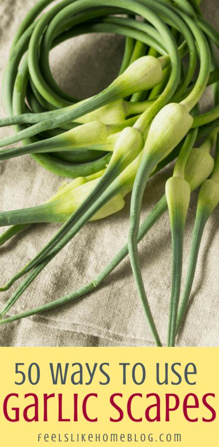 garlic scapes on burlap
