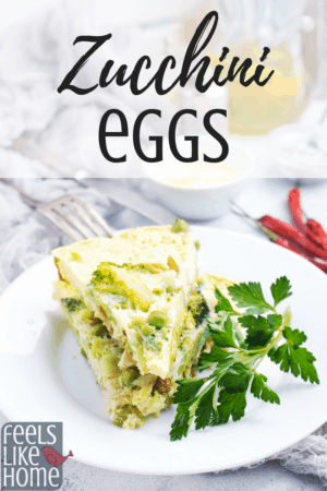 How to make the best zucchini eggs recipe for breakfast or brunch - This simple and easy omelette or frittata uses fresh veggies to make a healthy, paleo, low carb, gluten free dish. Sprinkle with shredded cheese to serve.