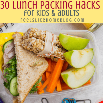 a packed lunch with a sandwich and apples
