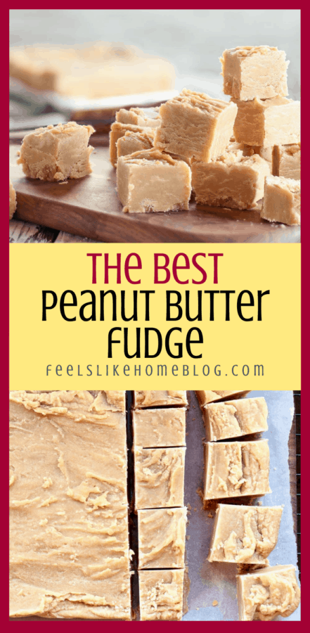 collage of peanut butter fudge on a cutting board