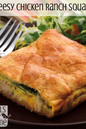 Cheesy Chicken Ranch Squares - This hearty comfort food uses chicken, crescent rolls, cheese, spinach, and a ranch dressing packet to make a perfect weeknight dinner!