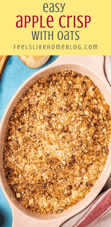 a baking dish with homemade apple crisp