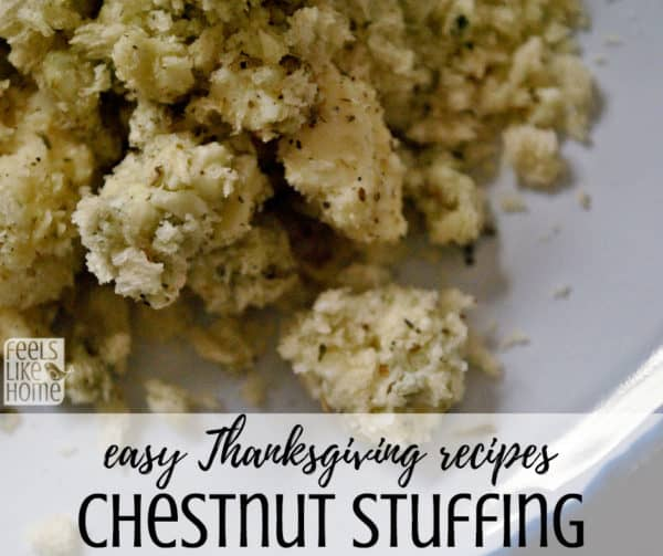 How to make the best easy chestnut stuffing - This delicious simple recipe is perfect for Thanksgiving and Christmas dinners. Bread dressing is the perfect addition to the table at the holidays!
