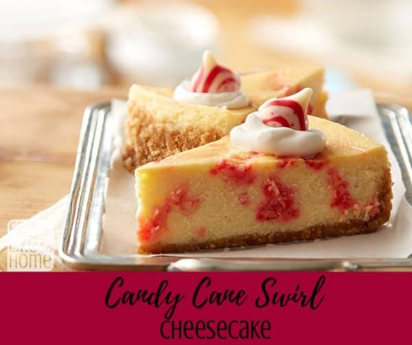 The best candy cane swirl chocolate cheesecake - This is the perfect recipe for the holidays. Made with white chocolate candy cane swirl Hershey's Kisses and cream cheese, then baked, this is the perfect Christmas recipe!