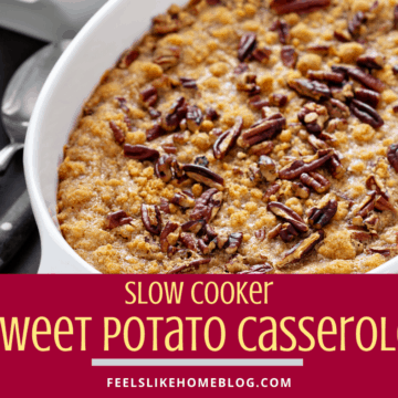 sweet potato casserole with pecans in a white dish