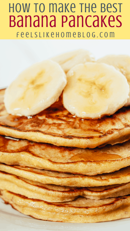 four pancakes on a white plate with banana