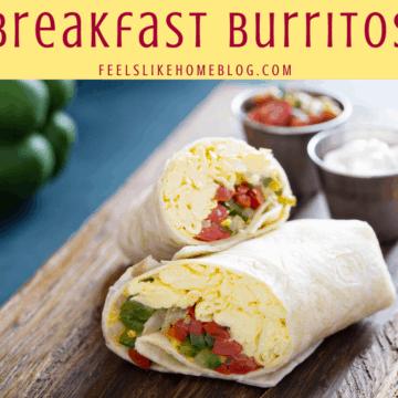 healthy breakfast burritos cut in half