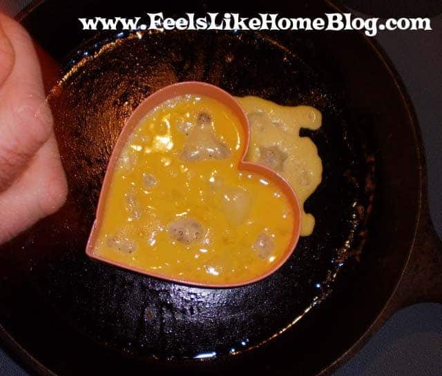 Give your Valentine a heart-shaped omelet for breakfast in bed - How to make a heart omelette with cheese and eggs. Easy shaped breakfast. Special fun, healthy, romantic breakfast ideas for him or for her. Low carb.