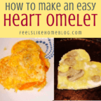 collage of heart omelets