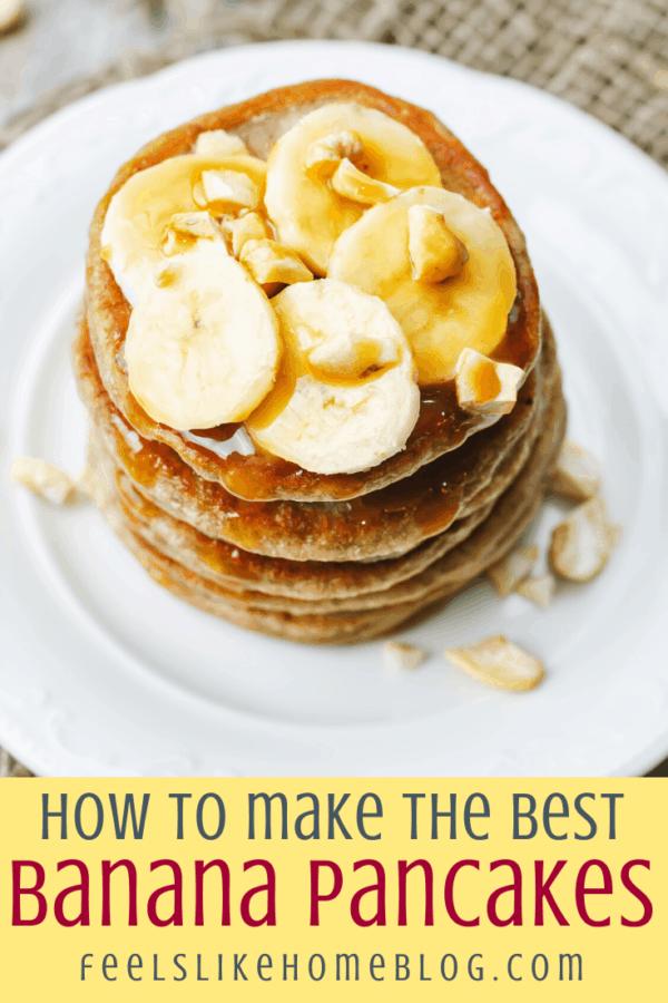 a short stack of banana pancakes