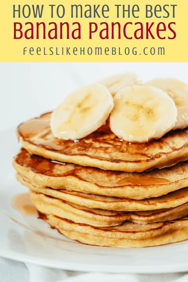 a tall stack of banana pancakes