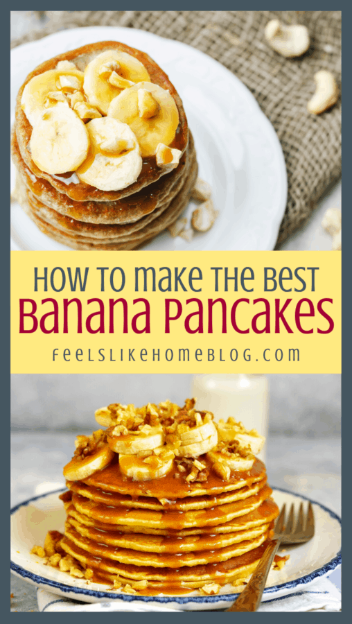 a collage of pancakes with bananas and syrup
