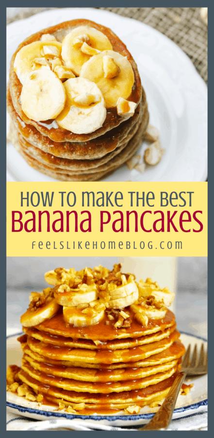 a collage of banana pancakes