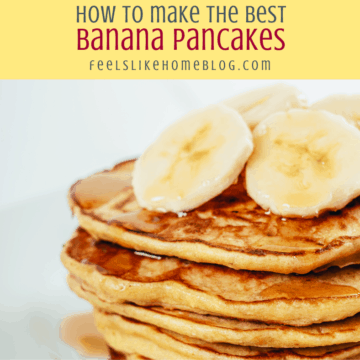 a short stack of pancakes with bananas
