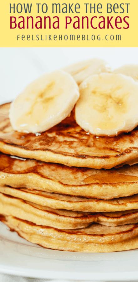 four pancakes with bananas
