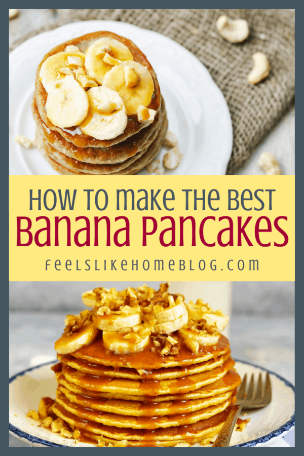 a collage of banana pancakes on white plates