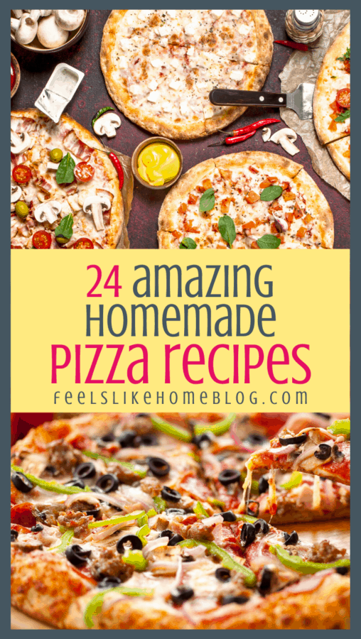 many different kinds of homemade pizza