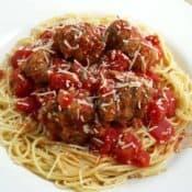 Slow Cooker Turkey Meatballs with Spaghetti