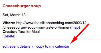 menu planning with Google calendar