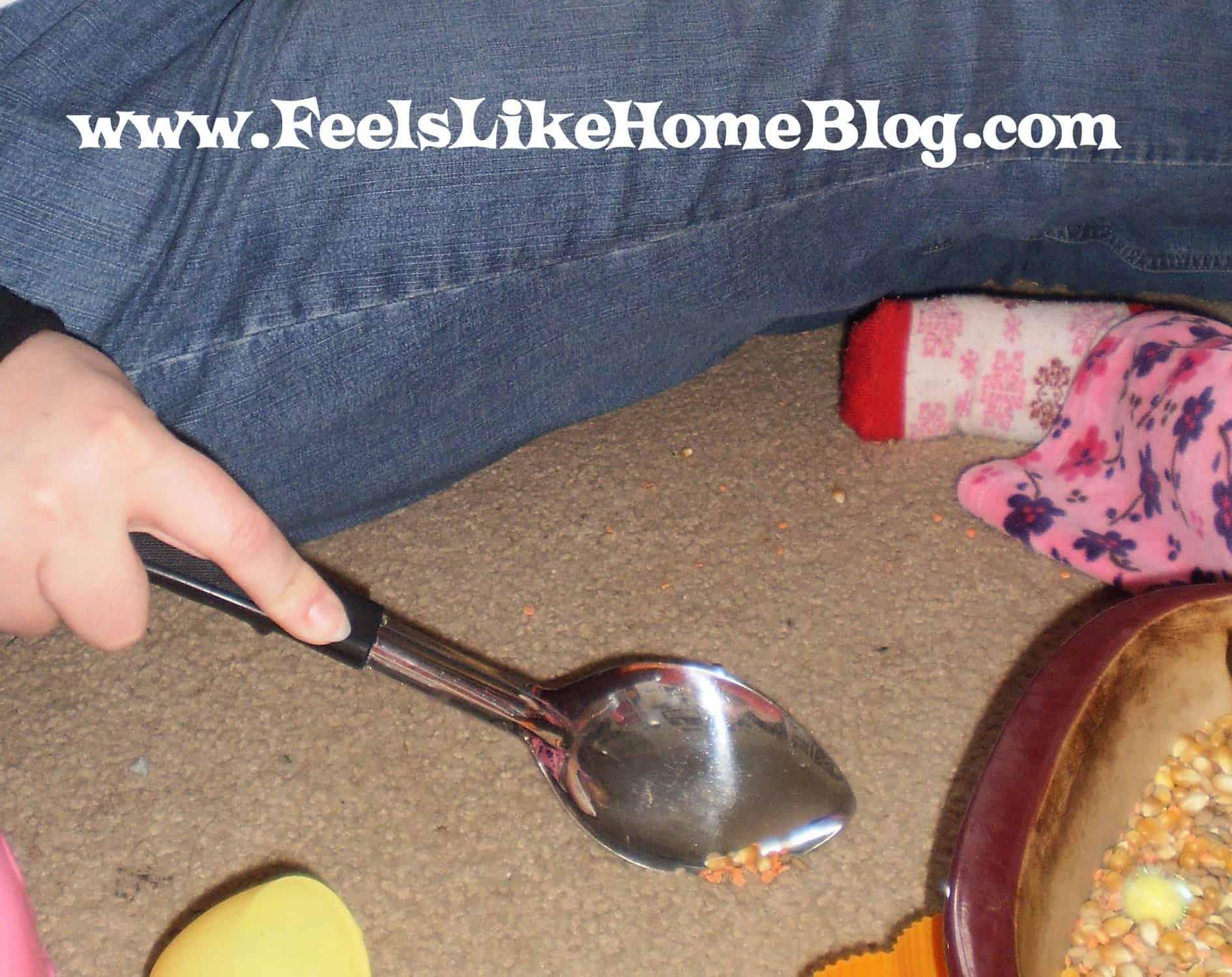 cleaning up sensory tub