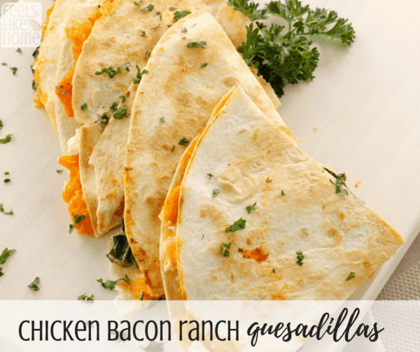 How to make the best chicken bacon ranch quesadillas - Topped with sour cream, these cheesy chicken sandwiches are full of melted goodness. Perfect simple and easy weeknight dinner!