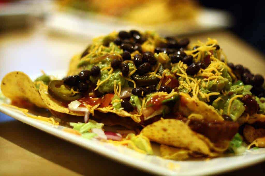 sausage cheese bean nachos