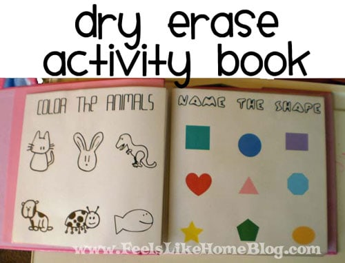 How to make a DIY dry erase activity book for toddlers and preschoolers - This unique learning book allows children to draw, color, and trace and is customizable for any age. Fun no sew ideas for kids. Could be used on road trips or at church. Great for 2, 3, 4, and 5 year olds. Lots of pictures. Awesome idea using cheap materials.
