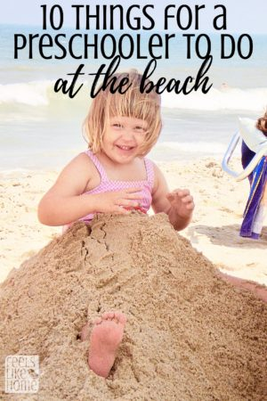 Taking a preschooler to the beach? Simple and easy suggestions, activities, and tips for what to do. Make art, crafts, science experiments, math activities, and games. Super fun! They'll never get bored!