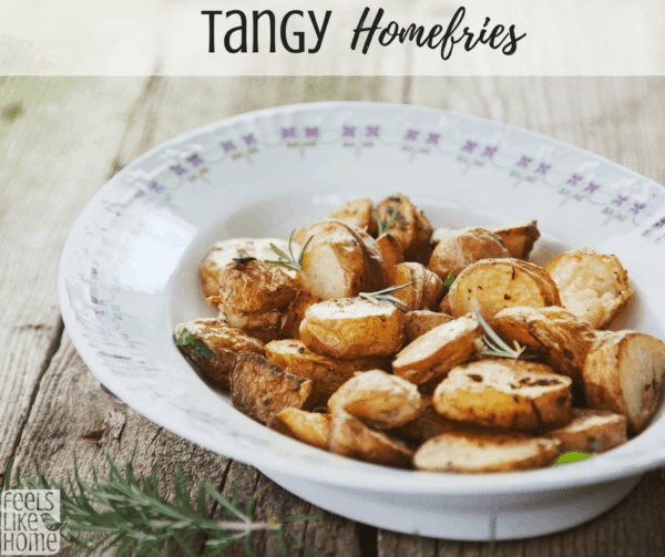 how to make the best tangy pan fried potatoes - This quick and easy home fries recipe is healthy and low calorie, too! Great for breakfast, brunch, lunch, or dinner, they are crispy because they're pan fried with very little oil. Add onions for a great flavor!