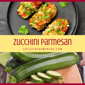 A collage of zucchini and parmesan