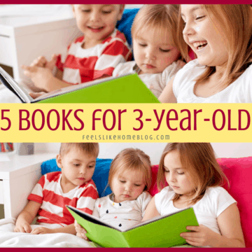 a collage of 3 year olds reading a book