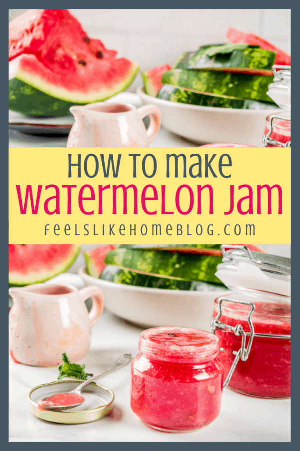 Food on a table, with Jam and Watermelon