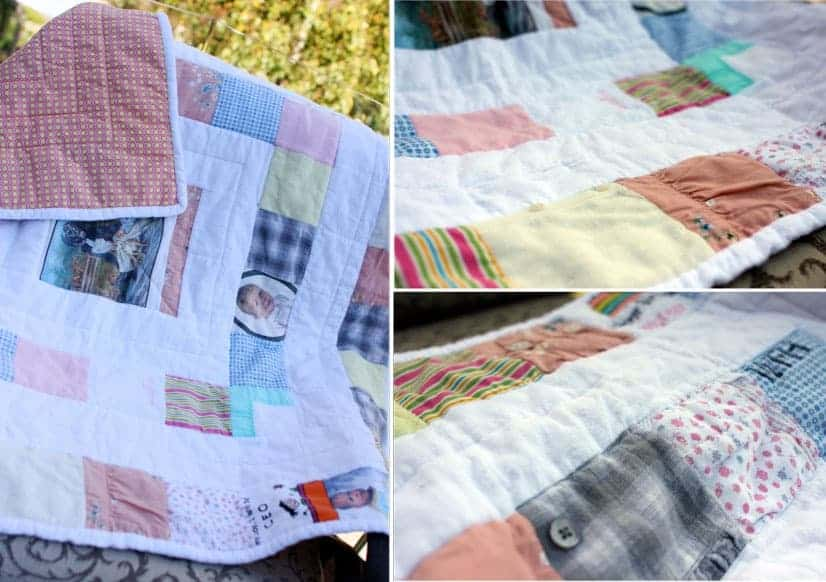 Some have borders between the baby clothes others have the squares butting
