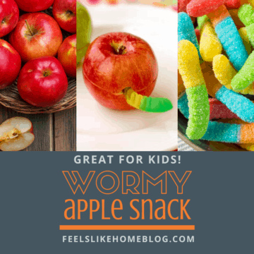 The best simple and easy homemade healthy snacks for kids to take to school, eat after school at home or on the go. This quick apple and peanut butter snack is a crowd pleaser for picky eaters, toddlers, preschoolers, and even tweens and teens. No sugar except for the gummy worm which can be omitted. Fun to make and eat for lunches or snack time. Cheap and healthy cute snack with fruit in the summer, fall, or Halloween. Children love this creative treat!