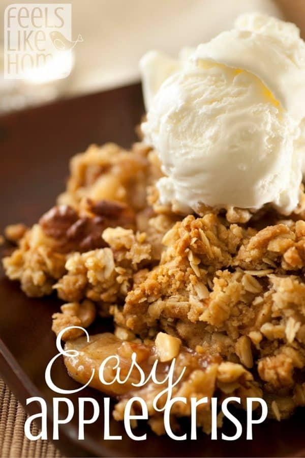 The best easy apple crisp recipe - Makes a simple traditional crumble with cake mix to top the cooked apples or apple pie filling. Quick baked recipe. This classic Pampered Chef recipe with pecans makes a small batch, perfect for one or two or a small family in an 8x8 or 9x9 pan.