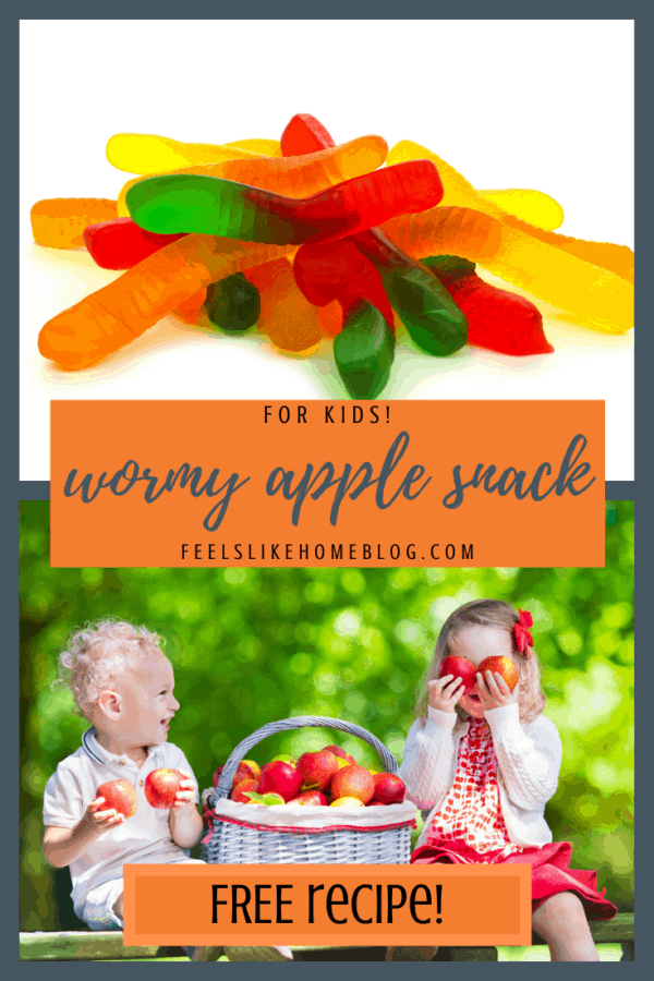 The best simple and easy homemade healthy snacks for kids to take to school, eatafter school at home or on the go. This quick apple and peanut butter snack is a crowd pleaser for picky eaters, toddlers, preschoolers, and even tweens and teens. No sugar except for the gummy worm which can be omitted. Fun to make and eat for lunches or snack time. Cheap and healthy cute snack with fruit in the summer, fall, orHalloween. Children love this creative treat!
