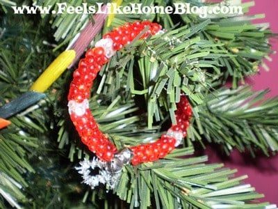 beaded wreath ornaments