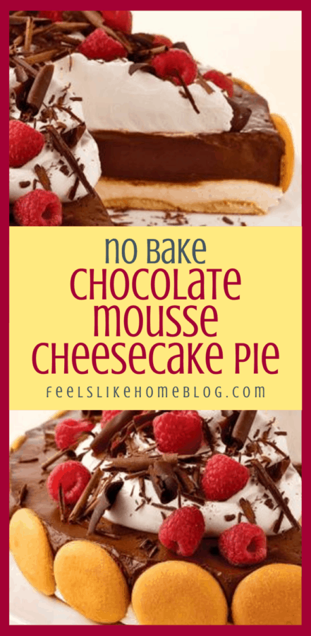 a collage of no bake chocolate mousse cheesecake pie