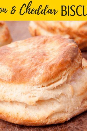 Bacon & Cheddar Biscuits Recipe - Made with Bisquick, bacon, and lots of cheddar cheese, these breakfast or brunch biscuits are amazing! Perfect comfort food! Also great for dinner!