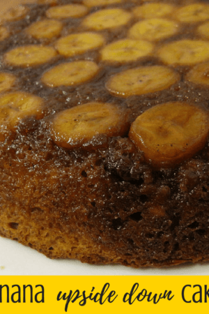 The best easy banana upside down cake recipe - This simple and tasty recipe starts with a boxed cake mix and adds bananas, butter, nuts, brown sugar, and spices to make a caramelized topping. It's sure to become one of your favorite desserts!