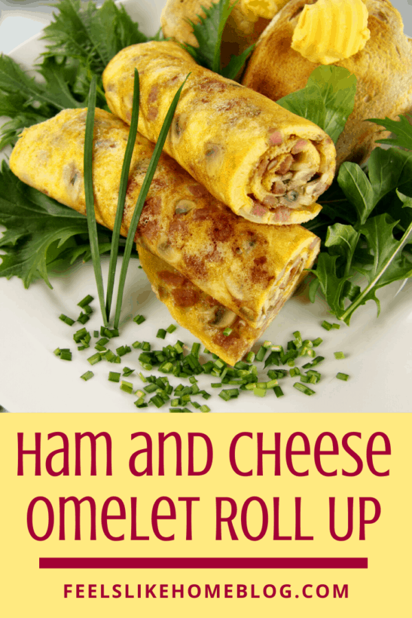 A plate of food with an omelet roll and a salad, with Cheese and Ham