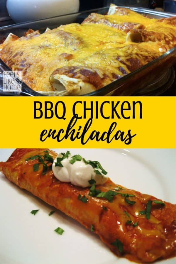 The best BBQ chicken enchiladas. These are so simple and easy, but so amazing! Can be made with shredded chicken or pulled pork, flour or corn tortillas. Use quick homemade enchilada sauce to make them for an explosion of flavor!